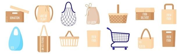空のエコ紙の買い物袋、バスケット、カート、ボックス、文字列、白い背景で隔離の健康食品のタートルバッグのベクトル漫画セット。環境コンセプトへの配慮。エコフードショッピング。