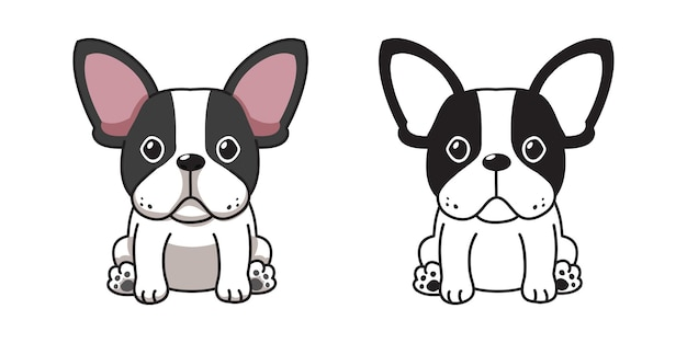 デザインのためのフレンチブルドッグのベクトル漫画セット。