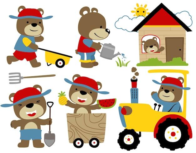 農業機器と面白い動物のベクトル漫画セット