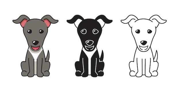デザインのグレイハウンド犬のベクトル漫画セット Premiumベクター