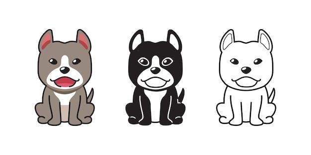 디자인에 대 한 핏불 테리어 강아지의 벡터 만화 세트
