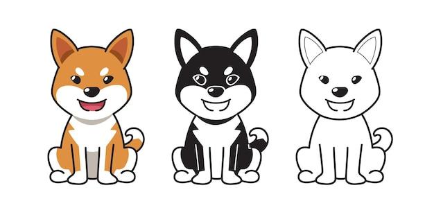 Векторный мультфильм набор собаки сиба ину для дизайна