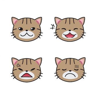 다른 감정을 보여주는 줄무늬 고양이 얼굴의 벡터 만화 세트