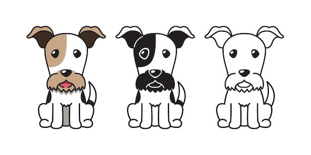 디자인에 대 한 와이어 폭스 테리어 강아지의 벡터 만화 세트.