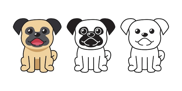 Vector cartoon set of pug dog for design