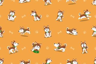 ベクトル漫画シベリアンハスキー犬のシームレスなパターン