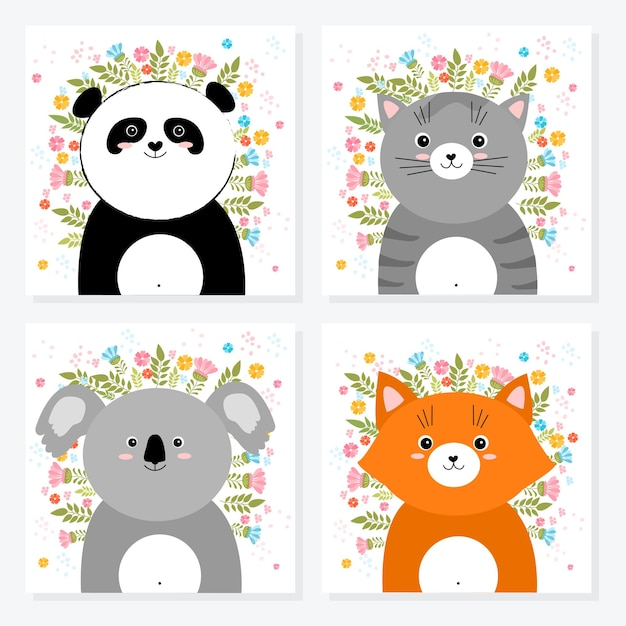 Vector cartoon sketch animals illustration with spring and summer flowers