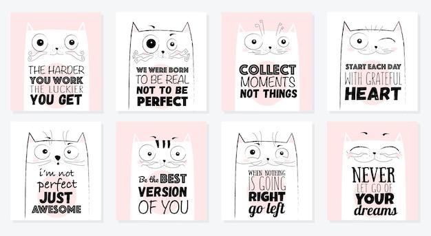 벡터 만화 스케치 귀여운 레터링 문구와 함께 재미있는 고양이 그림