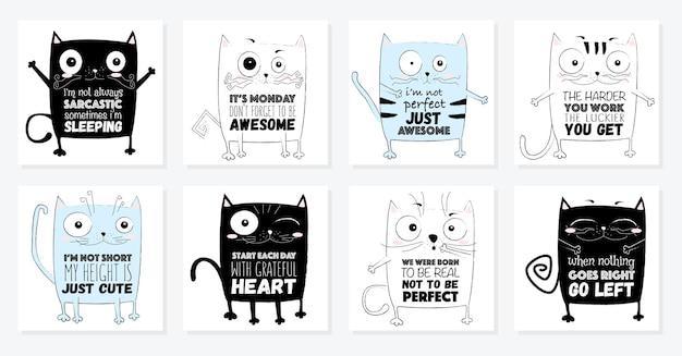 귀여운 레터링 문구가 있는 벡터 만화 스케치 재미있는 고양이 그림
