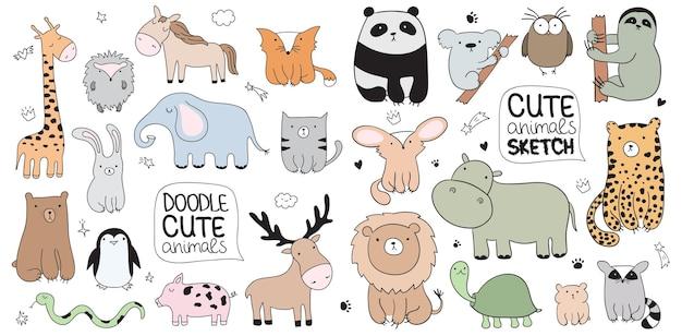 귀여운 낙서 동물 벡터 만화 스케치 그림입니다. 엽서, 생일, 아기 책, 어린이 방에 적합합니다. 팬더, 코알라, 나무늘보, 표범, 하마, 너구리, 올빼미, 거북이, 사자
