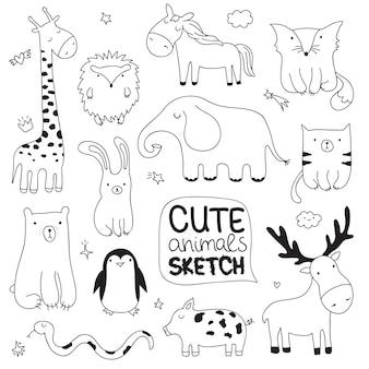 귀여운 낙서 동물 벡터 만화 스케치 그림 엽서에 적합