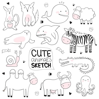 Vector cartoon sketch illustration with cute doodle animals perfect for postcard