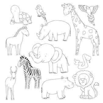 귀여운 낙서 동물 벡터 만화 스케치 그림