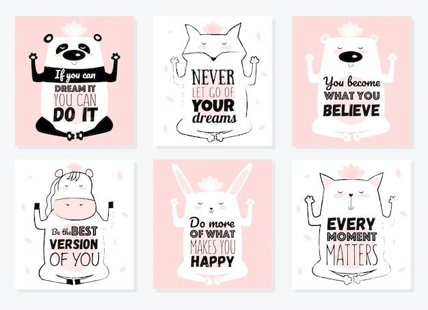 Векторный мультфильм эскиз медитативные животные иллюстрации с мотивационной надписью фразу