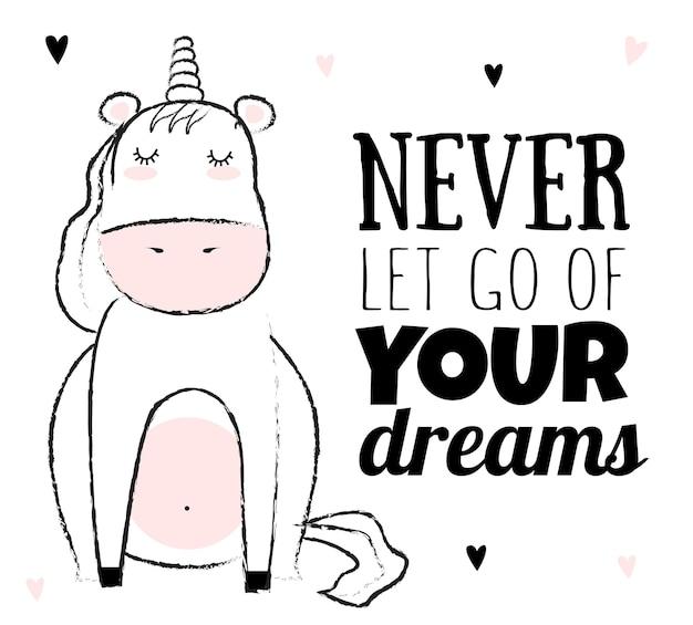 Vector cartoon sketch unicorn illustration with motivation lettering phrase