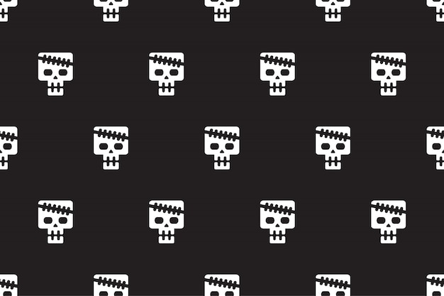 Vector cartoon skull seamless pattern