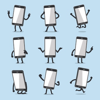 Vector cartoon smartphone character poses