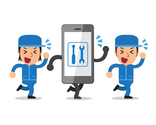 Vector cartoon smartphone and technicians