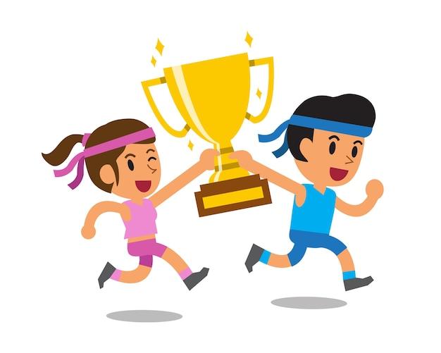 Vector cartoon sport man and woman holding big gold trophy cup award