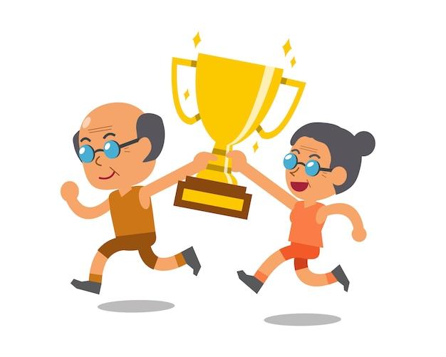 Vector cartoon sport senior man and senior woman holding big gold trophy cup award