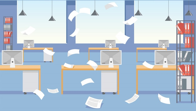 Vector cartoon stressful office environment