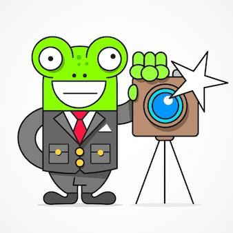 写真家のベクトル漫画スタイルのキャラクター。バックグラウンドで分離。