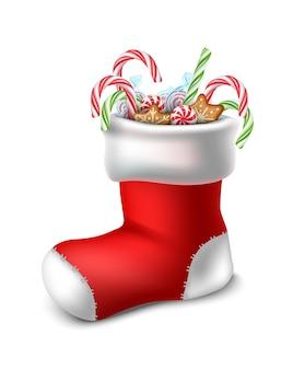 Calzino rosso di natale in stile cartone animato vettoriale con caramelle all'interno isolato su sfondo bianco