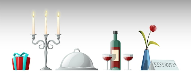 Vector cartoon style collection of elements for romantic evening