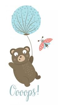 てんとう虫とタンポポで飛んでベクトル漫画スタイルフラットクマ。テディが転んで面白いシーン。印刷、文房具の森の動物のかわいいイラスト
