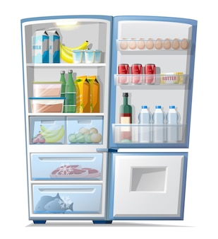 Vector cartoon style fridge with food inside frozen meat and fish, bottles of water and juice