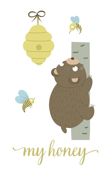 Vector cartoon style hand drawn flat bear climbing the tree for beehive surrounded by bees. funny scene with teddy wanting to get honey. cute illustration of woodland animal