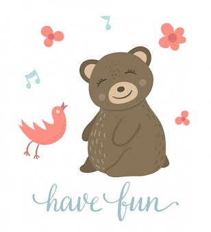 Vector cartoon style hand drawn flat bear sitting and listening to the singing bird. funny scene with teddy having fun. cute illustration of woodland animal for print