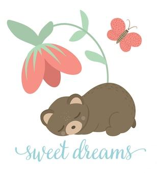 벡터 만화 스타일 손으로 그린 평면 곰 나비와 꽃 아래에서 자 고. 테디와 함께 재미있는 장면. 인쇄용 숲 동물의 귀여운 일러스트