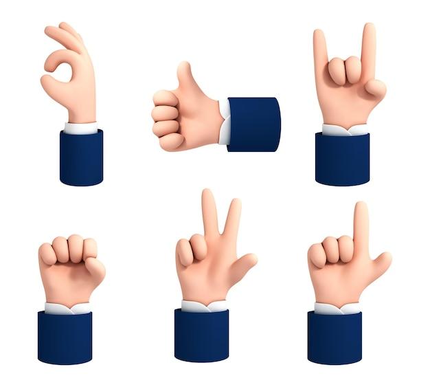 Векторный набор жестов рук в мультяшном стиле, изолированные на белом фоне. набор иконок жесты рук мультфильм.