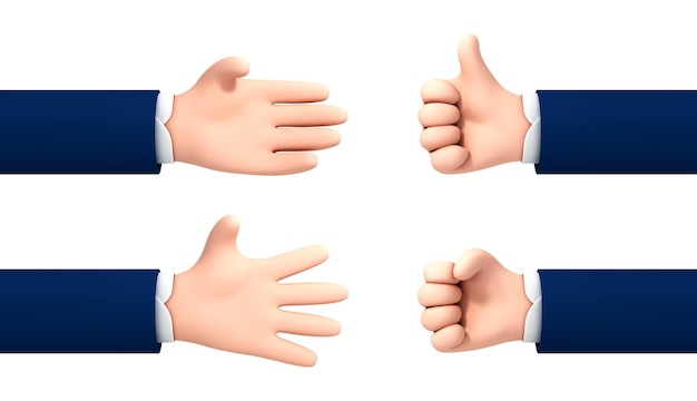 Vector cartoon style hands gestures set isolated on white background.
