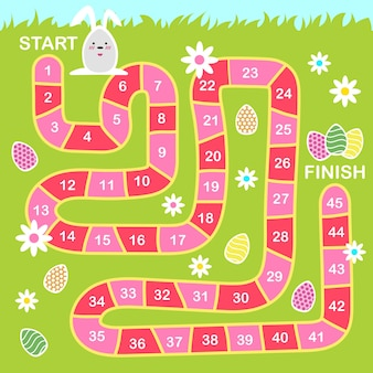 Vector cartoon style illustration of kids easter board game with holiday symbols. template for print.