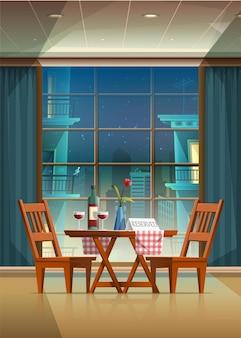カップルのテーブルと美しいレストランでロマンチックな夜のベクトル漫画スタイルのイラスト