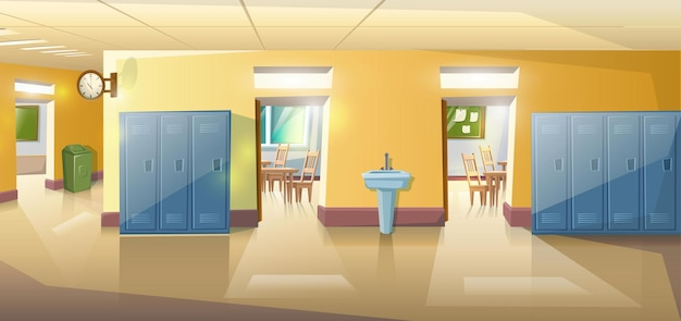 Vector cartoon style school hallway with open doors of classes with study tables and chairs.
