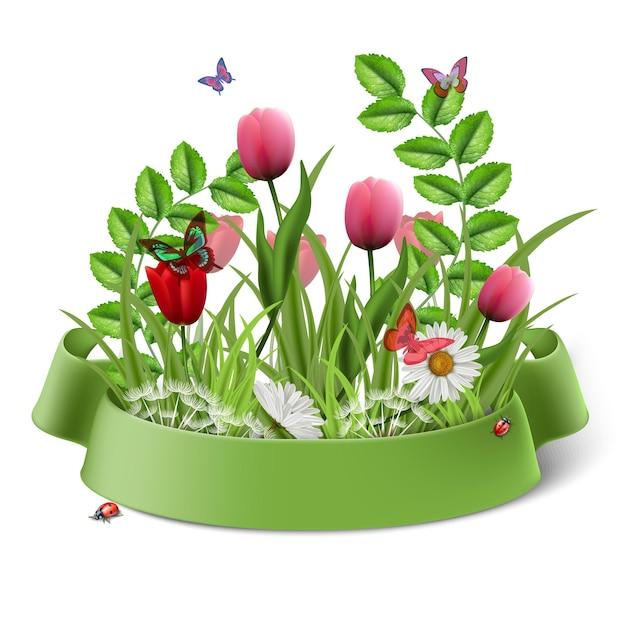 緑のリボンとベクトル漫画スタイルの春の花の花束。