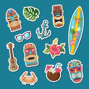 Vector cartoon summer travel elements stickers set illustration
