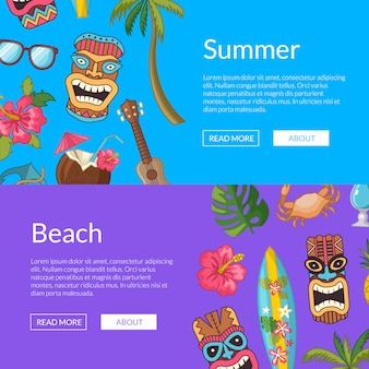 Vector cartoon summer travel elements web banner templates illustration
