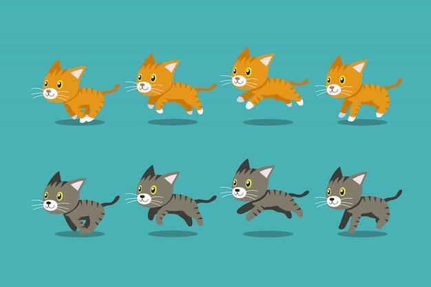 벡터 만화 줄무늬 고양이 단계를 실행