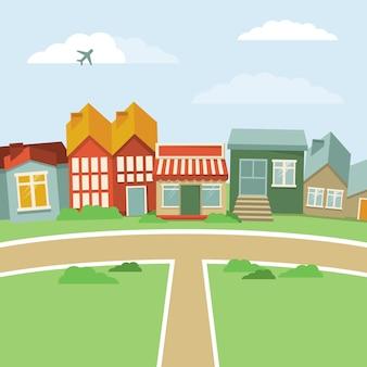 벡터 만화 마을-복고 스타일 하우스와 추상 풍경