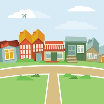 Vector cartoon town - abstract landscape with houses in retro style