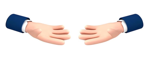 Vector cartoon two outstretched hands palm isolated on white background. vector cartoon hand gesture in cartoon style