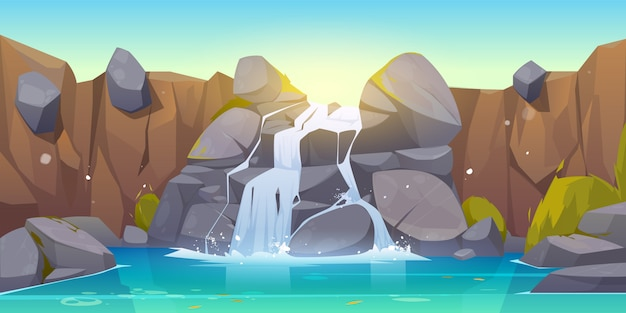 Vector cartoon waterfall and rocks