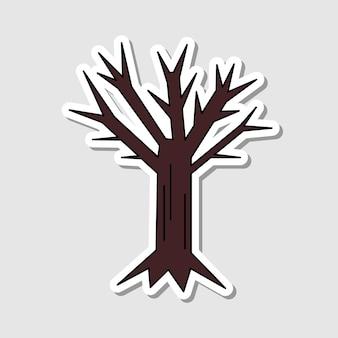 벡터 만화 시든 나무 스티커 격리 된 할로윈 요소 장식