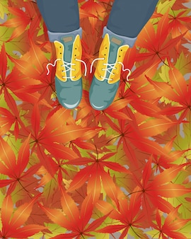 Vector cartoon woman wearing leather boots on footpath with falling maple leaf. illustration for the autumn or fall sale.