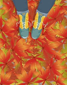 벡터 만화 여자 떨어지는 메이플 리프와 보도에 가죽 부츠를 입고. 가을 또는 가을 판매를위한 그림.
