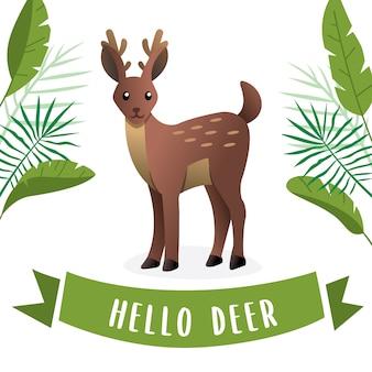 ベクトル漫画の若い鹿